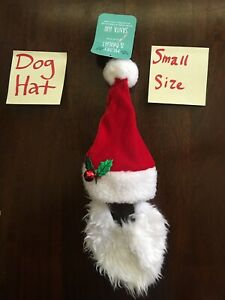 Dog Santa Hat w/ Beard Christmas Holiday SMALL Pet Costume *BENEFITS PET RESCUE!