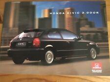 HONDA CIVIC 3 DOOR SALES BROCHURE 1995 / 1996 - NEW