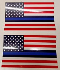 Thin Blue Line American Flag Police Lives Matter 3x5 Left and Right 2 decals