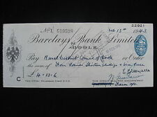 Cheque - Barclays Bank Goole 13 Feb 1943 for £4 13s 6d  Rural District Council.