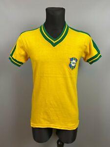 BRAZIL HOME VINTAGE FOOTBALL SOCCER JERSEY TRIKOT ADULT SIZE S