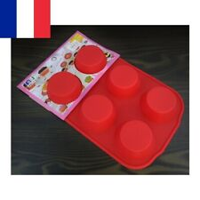 Moule à Muffin en Silicone Rouge 6 Emplacements Muffins Gâteau Cake