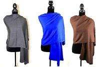 Cashmere Shaw Scarf Ladies Knit Soft Black Grey Brown Travel Blanket Wrap New