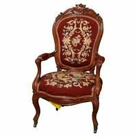 Antique Victorian Carved Rosewood Needlepoint Gentleman's Parlor Armchair