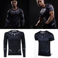 Black Panther Men's Long Short T Shirt Superhero Comics Compression Fitness Top