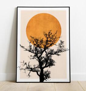 Tree Print, Minimal Line Art Print, Tree and Sun Art Print, Home Decor, Wall Art