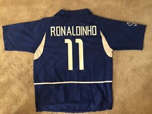 Ronaldinho Brazil Jersey #11 2002 World Cup Away Soccer Kit Jersey Size XL