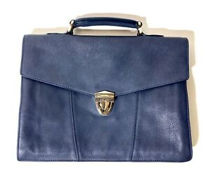 New Santoni Blue Leather Document Case (Slim Briefcase) Size 14 to 10