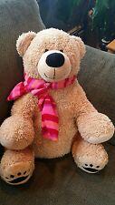 "SOFT Sitting Light Brown Caramel Teddy Bear w/ Scarf 14"" Plush DAN DEE Nice"