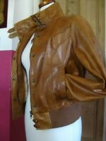Ladies NEXT real brown tan leather JACKET COAT UK 10 biker bomber racer