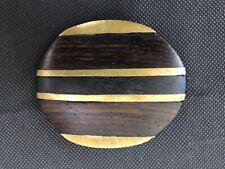 """Vintage Polished Brass and Wood Belt Buckle 3"""" diameter"""