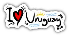 "I Love Uruguay Travel Slogan Car Bumper Sticker Decal 6"" x 3"""