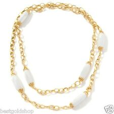 """40"""" Long Technibond White Agate Gemstone Necklace 14K Yellow Gold Clad Silver"""
