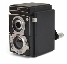 kikkerland Vintage Camera Shaped Plastic Pencil Sharpener, Black  SC12