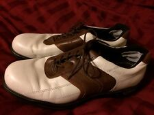 MEN'S ECCO Golf WHITE & BROWN SIZE 9  43 EUR Soft Spike. KED