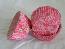 100 pink damask  cupcake liners baking paper cup muffin cases 50x33mm