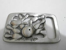 1970s VINTAGE BELT BUCKLE #13- 004 - PEWTER - BOWLING