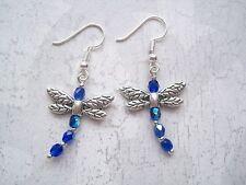 BLUE DRAGONFLY Quality Czech AB Glass Beaded Earrings SP Drop Dragonflies Cobalt