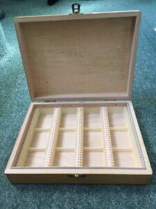 VINTAGE WOODEN  SLIDE STORAGE BOX - HOLDS 120 35mm SLIDES