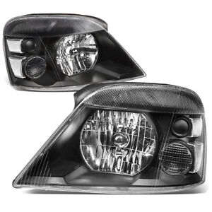 For 2004-2007 Ford Freestar Mercury Monterey Pair Headlight Headlamp Black Clear