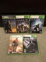 Halo & COD Lot Of 5 Xbox 360 Games - Halo 3, 4, Reach, MW2, Black Ops 2