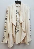 CHICOS ZENERGY 2 Cream Ivory Oatmeal Embroidered Open Front Cardigan Sweater Top