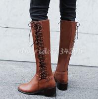 Mid-Calf Boots Damen Sweet Wadenhohe Stiefel Kunstleder Runde Zehe Winter Schuhe