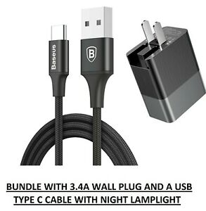 Baseus Duke Travel Charger 3.4A and Type C USB Cable Night LED Light Fast Charge