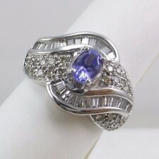 14k White GOLD Lavender Blue Tanzanite & Diamond Accents Ring 5.4 Gram's Sz 7.5