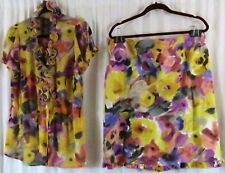 Sunny Leigh Skirt Suit Floral Multi Color Vintage XL Top 16 Skirt