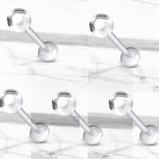 Labret Cartilage Helix Retainers No Metal 5 Pc 16G Clear Acrylic Ball Flexible