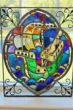 Antique Gothic Galleon Tall Ship Hand Painted Leaded Stained Glass Window 16thc