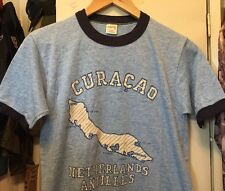 Vintage CURAÇAO NETHERLANDS Blue Color Ringer 12% Rayon Thin T Shirt. Size M
