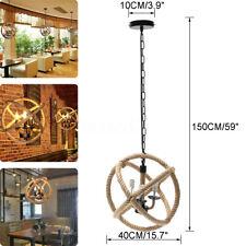 """Hemp Rope Pendant Light Retro Loft Ceiling Lamp Vintage Chandelier Fixtures 43"""""""