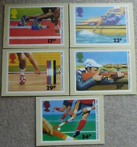 PHQ Royal Mail Stamp CARDS No 94 COMMONWEALTH GAMES EDINBURGH 1986 SET 5 Cards