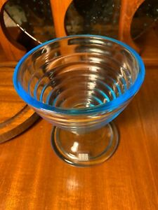 VETRERIA LUX Footed GLASS DESSERT COMPOTE BOWL Vase Candy Nut BLUE Made In ITALY