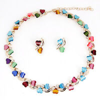 Fashion 18K Gold Plated Heart Resin Necklace Earrings Sets African jewelry sets