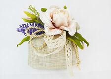 Bomboniera Sacchetto Simil Juta Oro Pick Fiore E Lavanda Wedding nozze d'oro