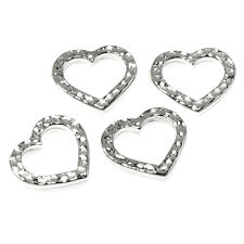 Silver Hammered Heart Links, Distressed Open Connectors 4/Pkg