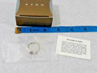Vtg Avon Sterling Silver Amethyst Cubic Zirc CZ Heart Ring Size 7 ~ Ships FREE