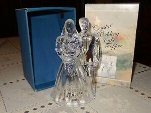 "Cristal D'arques Crystal Wedding Cake Topper 6-1/2"" Tall 24% Lead Crystal France"