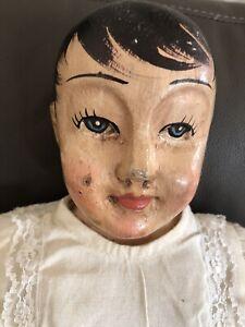 """Vintage Hand Carved Doll Sawdust filled Body 22"""" Handsome!!"""