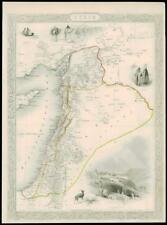 """1850 Original Illustrated Antique Map of """"SYRIA"""" by TALLIS  (197d)"""