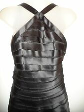 BCBG Max Azria 8 Dress Black Tiered Lace Inset Open Back Cocktail Wedding Party