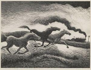 Running Horses : Thomas Hart Benton : 1955 : Archival Quality Art Print