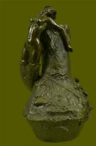 Special Patina Nude Mermaid Vase Planter Bronze Sculpture Figurine by Vitaleh