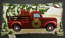 "Red Pickup Truck & Christmas Tree Throw Pillow 24""x14"" Embroidered Crewel New"