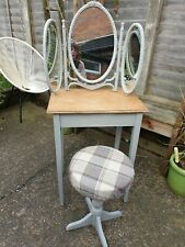 Vintage Upcycled Shabby Chic Rustic Dressing Table Desk With Mirror And Stool