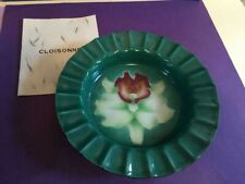 Green W/Flower Cloisonne Small Dish- Ashtray Vintage