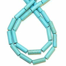 NG2660f Blue-Green Turquoise 13mm Round Tube Magnesite Gemstone Beads 15""